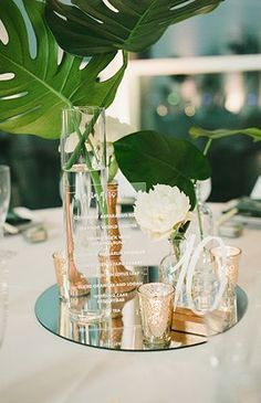 Modern Tropical Wedding Inspired By This wedding centerpieces Tropical Wedding Centerpieces, Tropical Wedding Decor, Tropical Home Decor, Modern Tropical, Beach Wedding Favors, Floral Centerpieces, Floral Wedding, Wedding Flowers, Beach Weddings