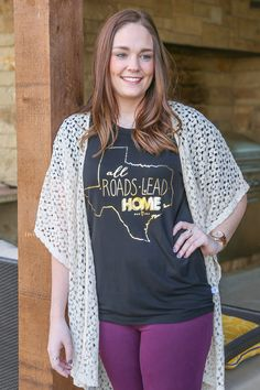 All Roads Lead Home to Texas Boyfriend Tee from Kickoff Couture #texas #statelove #home #goldfoil #kickoffcouture