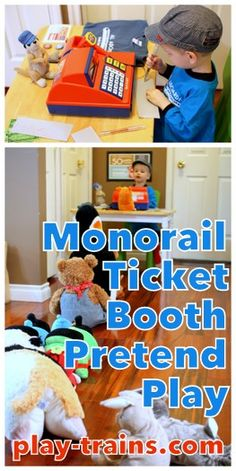 Monorail Ticket Booth Pretend Play @ Play Trains!  (((Dramatic Play room with small chairs from Art/Sensory room?!)))