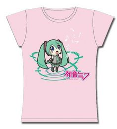 Chibi Hatsune Miku Girly Vocaloid T Shirt anime teeshirt [PINK]