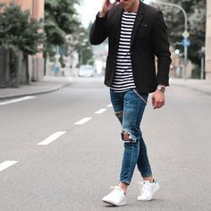 White sneakers outfit - Ripped denim + sports jacket ⋆ Men's Fashion Blog - TheUnstitchd.com