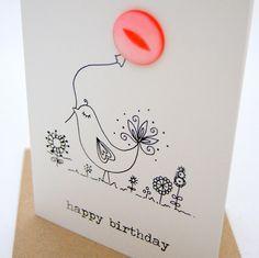 Happy birthday bird button box birthday card! Greeting Card