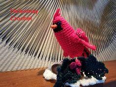 Helenmay Crochet Christmas Cardinal Part 1 of 2 DIY Video Tutorial Crochet Bird Patterns, Crochet Birds, Love Crochet, Vintage Crochet, Easy Crochet, Crochet Animals, Crochet Projects, Sewing Projects, Crochet Wreath