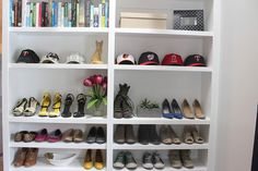 Master Bedroom Shoe Storage in Built-In Bookshelf