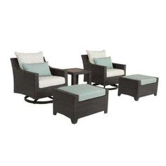 Deco 5-Piece All-Weather Wicker Patio Deluxe Motion Club and Ottoman Conversation Set with Spa Blue Cushions