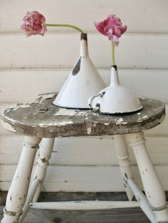 <3Love the chippy white stool...great use for an old funnel