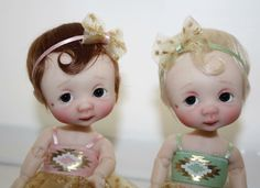 Custom Downtown Abbey Inspired OOAK Mary and Edith EllaBella BJD's by NikkiBritt