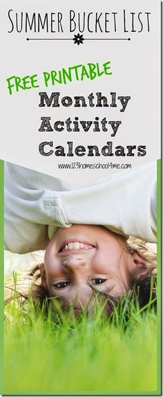 FREE Printable monthly activity calendar for families. Lots of fun, easy-to-do July kids activities