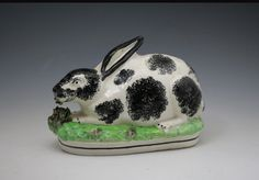 Large Antique Staffordshire pottery figure of rabbit mid 19th century Victorian England - Antique Staffordshire Pottery of John Howard