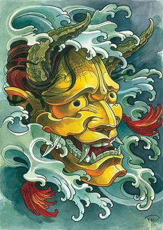 Image result for oni mask tattoo