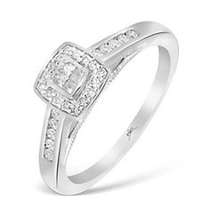 9ct White Gold 1/4 Carat Princessa Diamond Cluster Ring - Product number 2992906