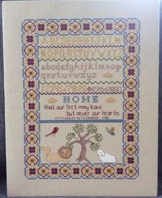 Cross Stitch Sampler Completed Ready To Frame Home Feet Leave Never Heart Tree #Unbranded