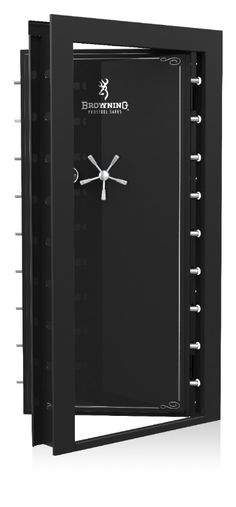 """The Browning Clamshell Vault Door - In-Swing x is in stock with Black Gloss and Black Chrome Hardware. The Browning Vault Door is the perfect solution for the person who has """"more than a few guns"""" in their collection. Weapon Storage, Gun Storage, Locker Storage, Safe Door, Wall Safe, Gun Safe Room, Fireproof Waterproof Safe, Reloading Room, Gun Vault"""