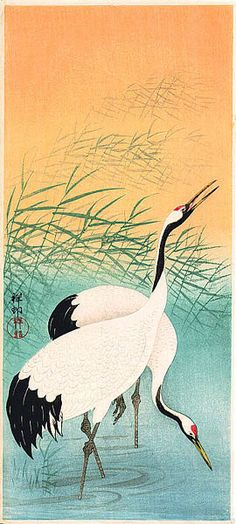 hanga gallery . . . torii gallery: Two Cranes in Shallow Water by Ohara Koson
