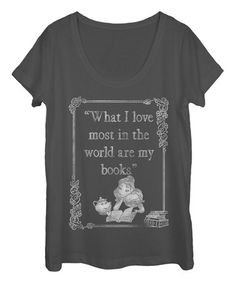 Another great find on #zulily! Charcoal Book Lover Tee - Juniors by Fifth Sun #zulilyfinds
