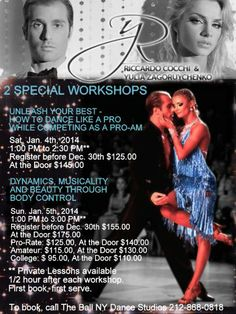 Coming to The Ball NY January 4th and 5th - 2 Special Workshops with Riccardo Cocchi and Yulia Zagoruychenko! @rydancecom Call The Ball NY at 212-868-0818 for more info! #dance #workshop #nyc #rydance #theballny