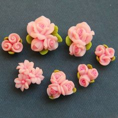 7pc-Set-Pink-Polymer Clay DIY Flowers for Earring Pendant Ring