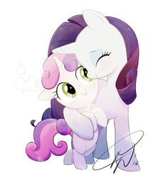 rarity and sweetie belle hug - Google Search