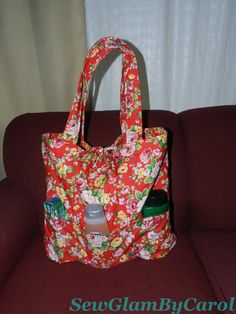 """Floral Summer Bag with 3 exterior patch pockets. Details: Approx. 16 1/2 """" height X 19 1/2 width. 100 % cotton fabric made in japan."""