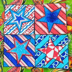 20 NEW, original tiles to decorate - then collaborate - for a rad radial artwork! Stars and Stripes, Fourth of July, patriotic activities.