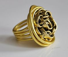 """Rings - """"button ring"""" ring of aluminum wire - a designer piece of Creation on DaWanda Diy Schmuck, Ring Ring, Diy Jewelry, Rings For Men, Wire, Etsy, Buttons, Design, Men Rings"""