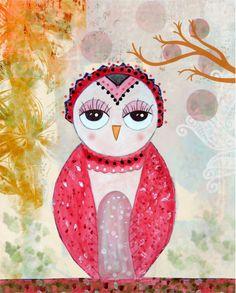Owl Art Print, Owl Nursery Art, Whimsical Owl Folk Art