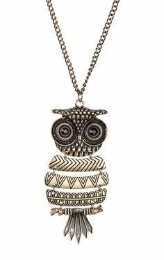 Deb Shops Long #Necklace with Brushed Metal #Owl Pendant $7.63