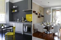 Серая кухня с желтыми акцентами