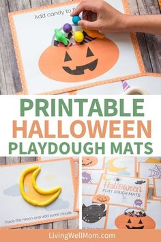 This Halloween, ditch the spooky and scary crap. Celebrate with a craft that will keep your kids entertained for hours! Make this awesome set of 10 pages of printable playdough mats to have them create their own little world. These are so much fun they won't even know it's Halloween when you're done playing together. Print these out, grab some dough (not included), and get ready to make memories with your kiddos while making pumpkin pie or apple cider! Diy Halloween Decorations, Cute Halloween, Halloween Costumes For Kids, Halloween Themes, Halloween Crafts, Imaginative Play, Thing 1, Printables, Creative
