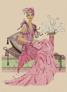 Counted Cross Stitch ART DECO LADY Sitting, Pink Dress - COMPLETE KIT #13vc-26 #FlowerPower37UK #Frame