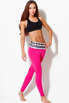 Trendy Cute Geometric banded pink fitness yoga leggings fo cheap | Affordable Clothing | 1015 store