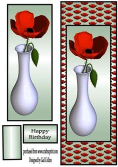 poppy day on Craftsuprint designed by Gail Collins - a lovely card with a poppy on - Now available for download!