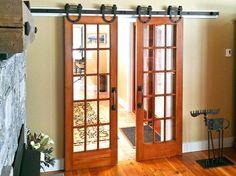 Interior barn door kit with glass panel Interior Barn Door Kit Installation Tips- idea for doors between sunroom and family room