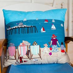 gorgeous seaside cushion by Lara Sparks Embroidery