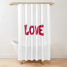 A shower curtain that will remind you to feel the love wherever you are in the house. #showercurtain, #love, #red, #bathroomdecor, #valentinesday