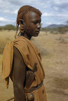 Wagogo man with hair dressed in ochre. Africa .