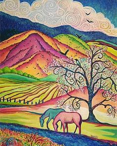 """Peaceful Valley"" by Sally Bartos, New Mexico artist. Her work is available from bartos on Etsy."