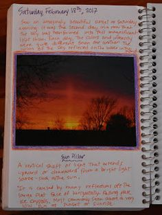 Nature Journal Entries in February: Beaver and Sun Pillar Journal Entries, Journal Pages, Nature Study, Nature Journal, Harvest Moon, Sunset, Blog, Natural History, Journal