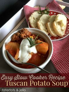 Tuscan Potato Soup! An easy slow cooker recipe.