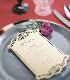 Laser cut wedding reception menu card idea; Featured Photographer: Charley Storey Photography