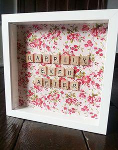 Scrabble Fabric Frame Wedding Gift Birthday by LittleIndieStudio Scrabble Letter Crafts, Scrabble Wall Art, Scrabble Letters, Scrabble Tiles, Scrabble Ornaments, Framed Fabric, Fabric Frame, Scrabble Kunst, Frame Crafts