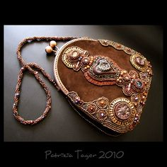 Arearea-Joyousness - OOAK Bead Embroidered Suede Bag by Triz Designs