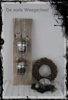 Mooi door eenvoud gemaakt van Pallethout en 2 glazen.