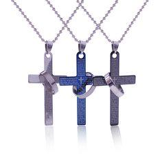 Fashion 3 Colors Cross Necklace Hot New Lettering Bible Verses Jesus Pray Cross Couple Tricolor  Pendant Bead Chain Necklace