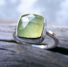 Faceted Prehnite Ring Prehnite Silver Ring by HelenesDreams, $88.00