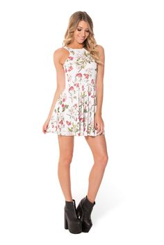 Gorgeous Garden White Reversible Skater Dress (WW $85AUD / US $80USD) by Black Milk Clothing