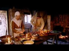 "The BBC made a series about farm life in 1620 called ""Green Valley"" - they butcher a hog; build an outhouse; thatch a roof; wattle and daub; rope from straw ...   All 12 videos available in full."
