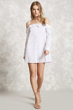 Open-Shoulder Buttoned Dress