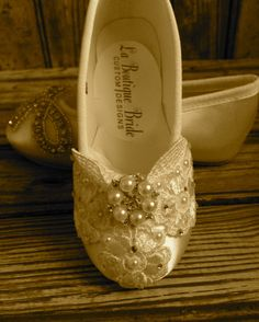 Custom Ballet Style Ivory Flower Girl Shoes Satin Beaded  Venice Lace Pearl & Crystal First Communion Victorian Style by LaBoutiqueBride on Etsy https://www.etsy.com/listing/161805934/custom-ballet-style-ivory-flower-girl