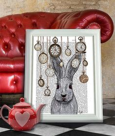 White Rabbit surrounded by watches and clocks. My interpretation of the white rabbit from Alice in Wonderland. Print of an original artwork by FabFunky.